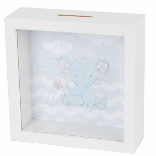 hucha de madera con ventana de cristal elefante como regalo para bebé