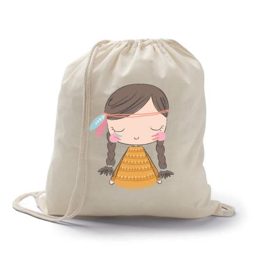 mochila petate con imagen de india como regalo para las niñas