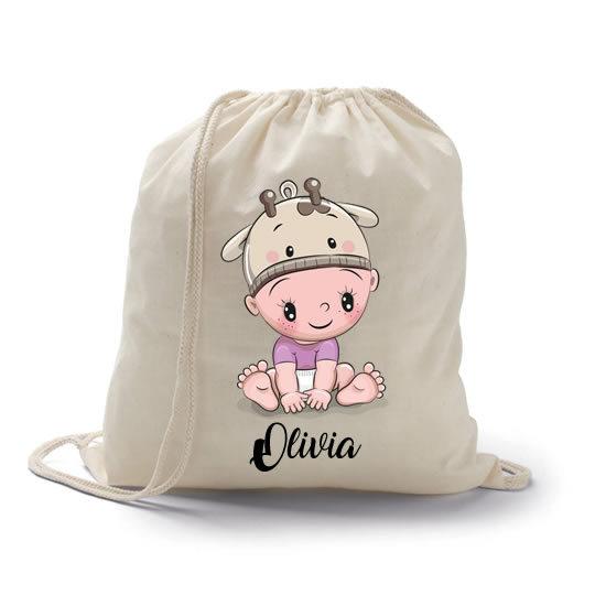 mochila petate vaquita como regalo para bebés con nombre personalizdo